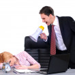 Boss yelling at woman employee — Stock Photo