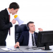 Boss yelling on employee — Stock Photo