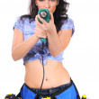Sexy girl with drill isolated on white — Stock Photo
