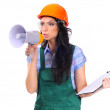 Foto Stock: Young female construction superintendent