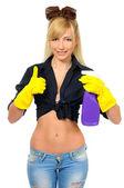 Sexy uklízečka pózuje s čistící zařízení — Stock fotografie