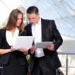 Confident business partners in office building — Stock Photo
