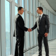 Cheerful businesspeople, or businessman and client, handshaking — Foto Stock