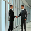 businesspeople allegri, o uomo d'affari e client, handshaking — Foto Stock