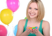 Girl and Candy — Stock Photo