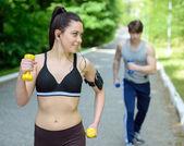 Fitness outdoors — Stock Photo