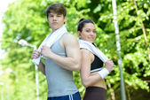 Fitness outdoors — Stock Photo