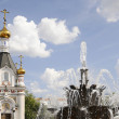Chirch in honour of Ekaterina and the fountain. Ekaterinburg — Stock Photo #30326033