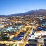 Aerial view of night city. Santa Cruz de Tenerife — Stock Photo #50128151