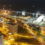 Aerial view of night city. Santa Cruz de Tenerife — Stock Photo #50131511
