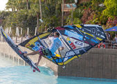 Windsurfing session in Siam park. PWA2014 Tenerife — Stock Photo