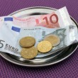 Stock fotografie: Euro tips on restaurant table