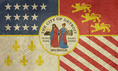 Grunge Detroit city flag — Stock Photo