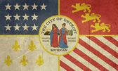 Grunge Detroit city flag — Stock Photo