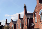 Back of English terraced houses — Stock Photo