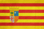 Grunge Aragon State or Province Spain flag — Stock Photo