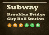 Grunge Brooklyn Bridge subway sign — Stock Photo