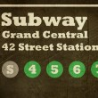 Stock Photo: Grunge Grand Central station subway sign