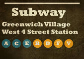 Grunge Greenwich Village subway sign — ストック写真