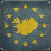 Grunge Iceland European button — Stock Photo