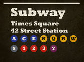 Grunge Times Square subway sign — Stock Photo