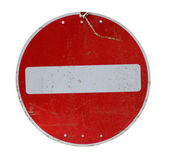 Worn metal stop road sign — Stock Photo