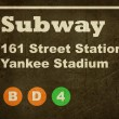 Stock Photo: Grunge Yankee Stadium subway sign