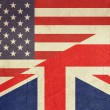 Grunge American and British flag — Stock Photo