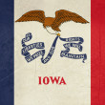 Grunge Iowa state flag — Stock Photo
