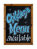 Childrens menu available sign — Stock Photo