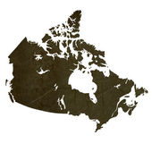 Dark silhouetted map of Canada — Stock Photo