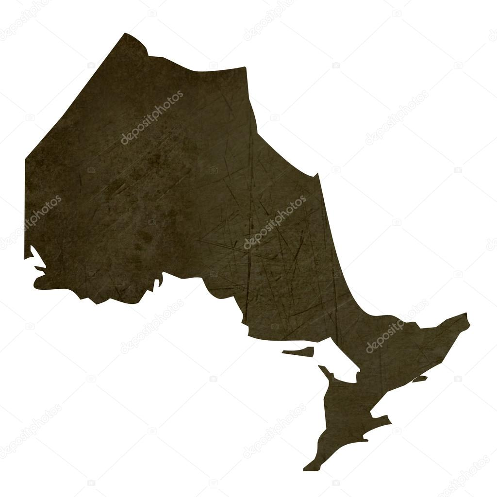 Dark silhouetted and textured map of Quebec province of Canada isolated on white background. — Stock Photo #18099697