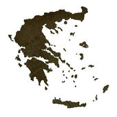 Dark silhouetted map of Greece — Foto Stock