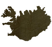Dark silhouetted map of Iceland — Stock Photo
