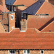 Stockfoto: Red tiles on house roofs