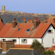 Red tiled houses and Scarborough Castle — Stock Photo