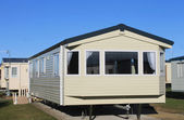 Exterior of modern static caravan — Stock Photo