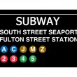 South Street Seaport Fulton Street Station subway sign — Stock Photo #26228383