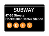 47-50 streets Rockerfeller Center Station subway sign — Stock Photo
