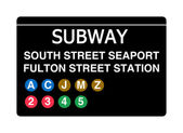 South Street Seaport Fulton Street Station subway sign — Stock Photo