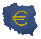 European currency symbol on map of Poland — Stock Photo