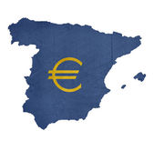 European currency symbol on map of Spain — Stock Photo