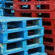 Colorful stacks of crate pallets — Foto de Stock