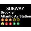 Brooklyn Atlantic Avenue Station subway sign — Stock Photo
