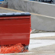 Red recycling bin — Stock Photo