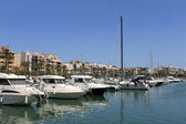 Boats moored in Alcudia harbor — Stock Photo