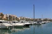 Boats moored in Alcudia harbor — Stockfoto