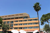 Spanish hotel and palm tree — Stock fotografie