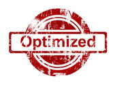 SEO optimized red stamp — Stock Photo