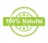 Green 100 percent natural stamp with stars — Stock Photo